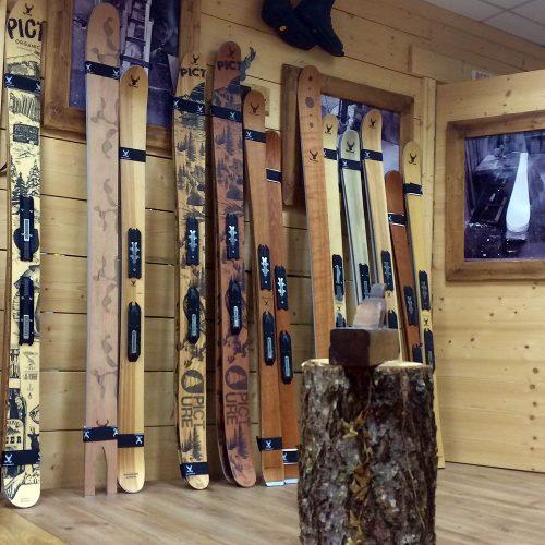 ripnwud handmade wood core ski showroom basecamp7
